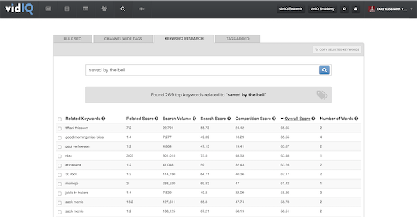 keyword research tool from vidiq