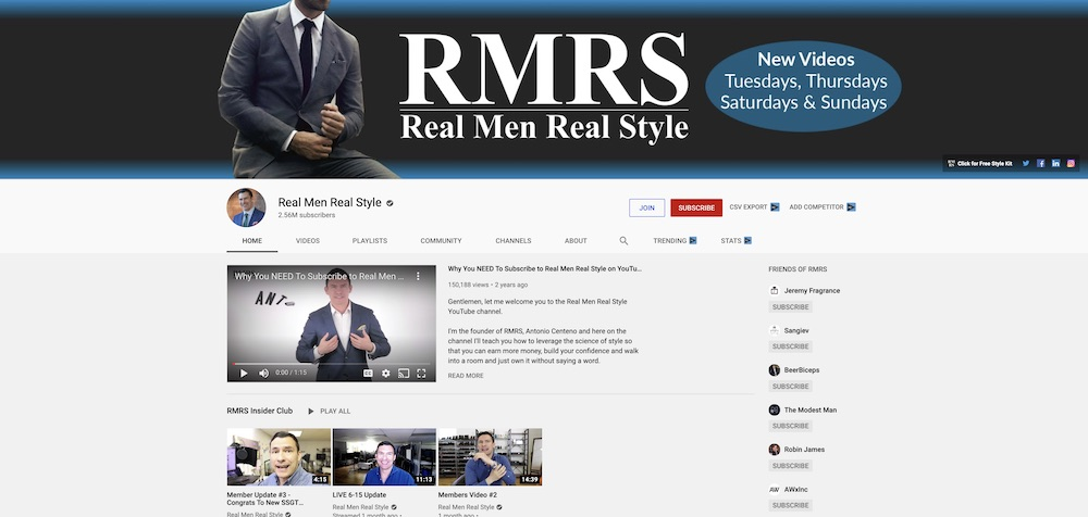real men real style youtube channel page