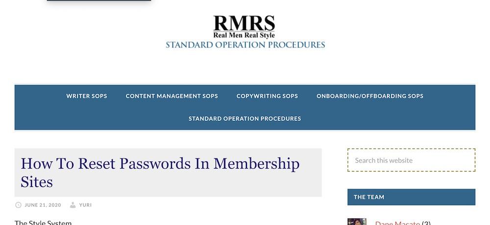 RMRS standard operating procedures