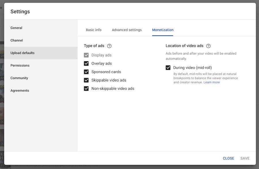 youtube upload default monetization settings