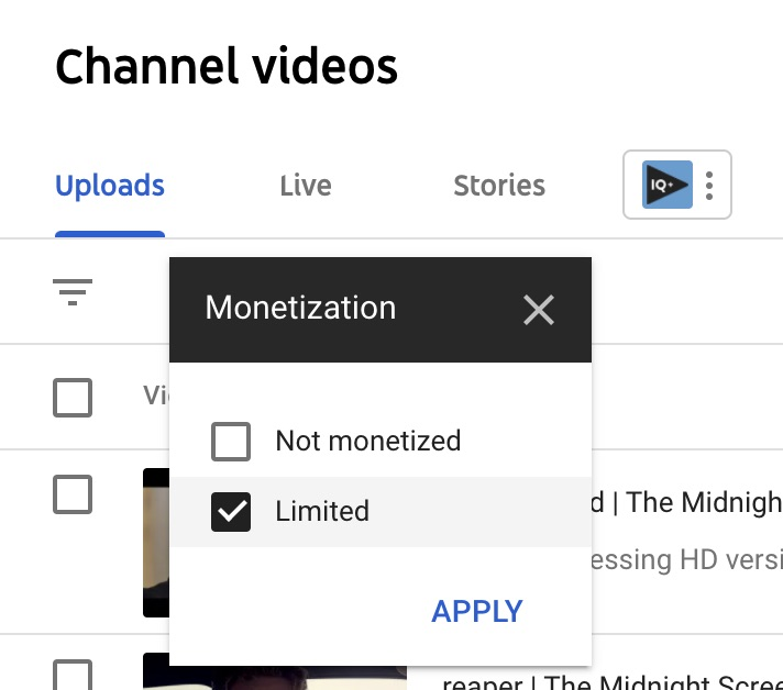 youtube video manager monetization filter