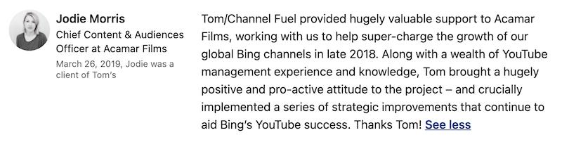 tom martin youtube recommendation