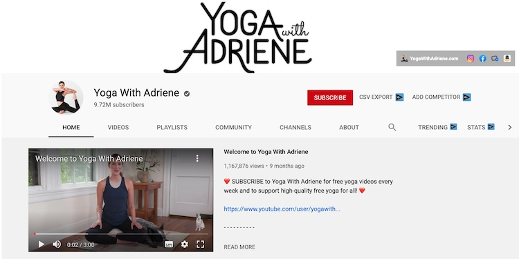yoga with adriene youtube channel